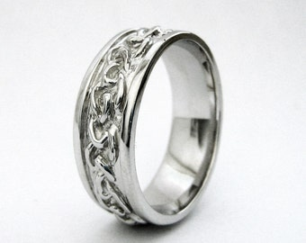 mens celtic wedding band handmade love knot braid ring in sterling silver or white gold - Mens Claddagh Wedding Ring