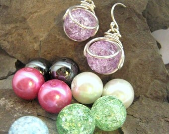 Pop In Earrings - Interchhangeable - Versatile - Comes with 10 Gem Marbles - New - Rickson Jewellery