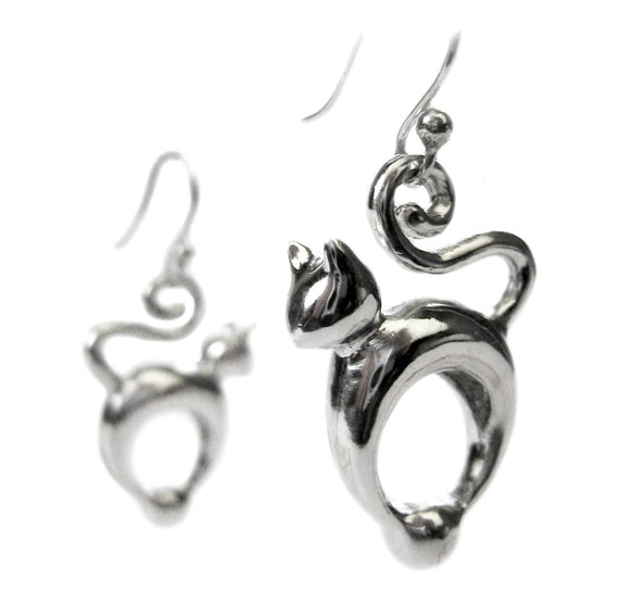 Cat Lover Earrings - Reserved for Mehmet - Donation to Humaine Society - Solid Sterling Silver - Earrings - Pet - Sculptural - art - Jewellery - Rickson