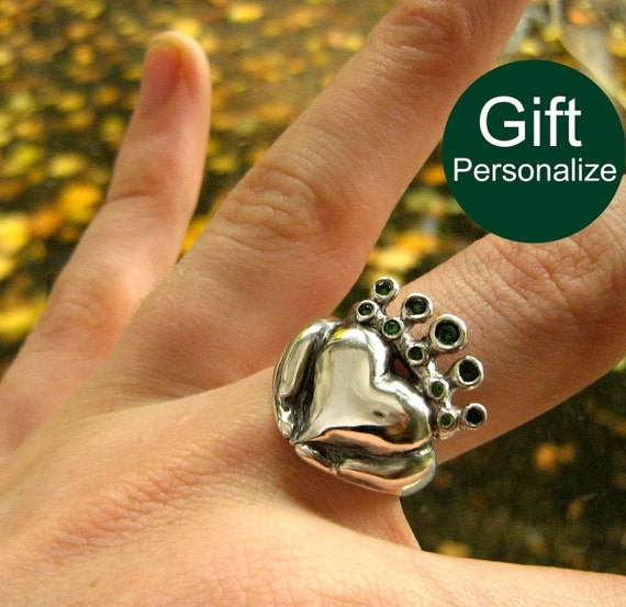 Claddagh Ring - Emerald CZ Stones - Celtic Promise Ring - Solid Sterling Silver - Personalized Gift  - Gift For Her - Rickson Jewellery 80b