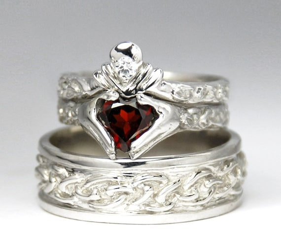 Claddagh wedding set new white gold diamond garnet for Garnet wedding ring meaning