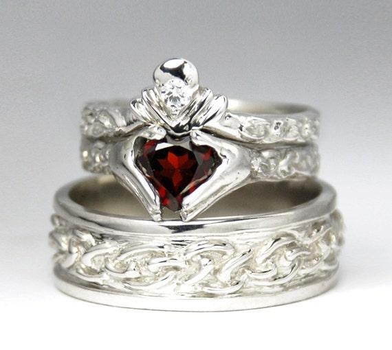 Claddagh Wedding Set New White Gold By Ricksonjewellery