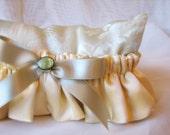 Garter Set - Cream Silk Charmeuse and Pale Pear Green Silk Satin Ribbon