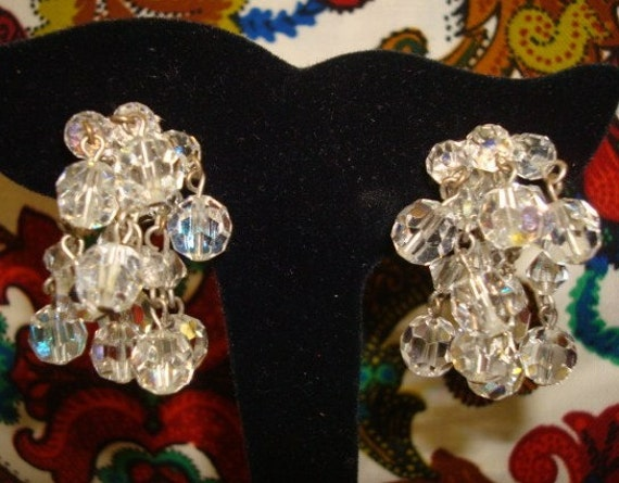 Gorgeous Vintage Crystal Cluster Clip On Earrings