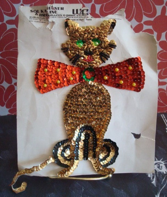 Large Vintage Sequin Cat Applique with Beads and a Bow Tie