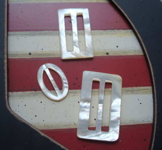 3 Great Vintage Mother of Pearl Belt Buckles