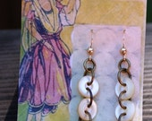 Vintage pearl buttons and gold heart earrings