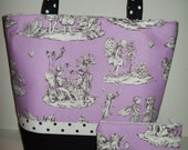 PRIVATE SALE for jzohrer..lavender ..Purple..White.Black.Toile...Fairies..Alexander Henry.. Polka dots..Change Purse...Tote.Diaper B