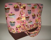 SALE..PINK CUPCAKE...Robert Kaufmann..Brown..Bangle Dots..Diaper Bag..Tote.