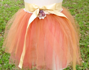 Dream Bohemian Dyed Delicate Rustic Soft Tulle Mini Tutu