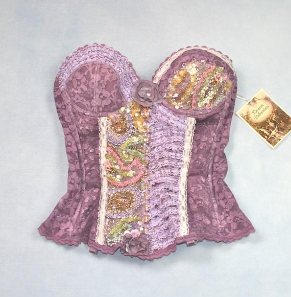 Dream Bohemian Vintage Crystal Burlesque Lavender Purple Bustier Corset