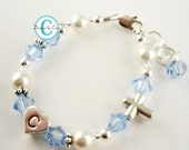 Her custom initial and color Baptism Bracelet, Christening Bracelet, First Communion jewelry