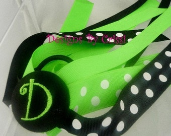 Personalized Hair Bow, Neon Green Black/ many colors/ Bow, Ponytail Streamer Hair Bow - choose any colors