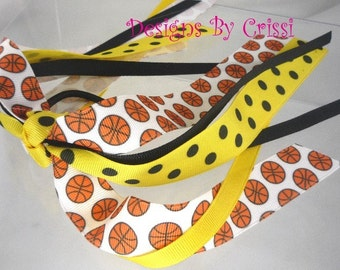 Basketball Sports Orange Ponytail Holder Streamer Bow Ribbon.  Made in your team colors. Choose your color