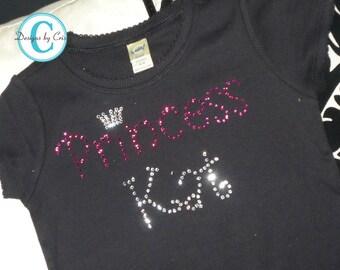 Bling Shirt Girls, Rhinestone Princess Tee, Name Shirt- any personalization, Any Swarovski crystal color