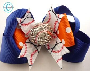 Blue orange Baseball Hair bow- many color choices - Rhinestone Baseball Hair Bow, Softball Choose your bow colors, Bling