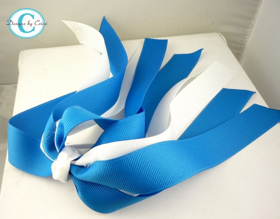 Blue and White or any ribbon color hair bow, cheer bow for girls, match school or team, custom hair bow , ponytail holder streamer