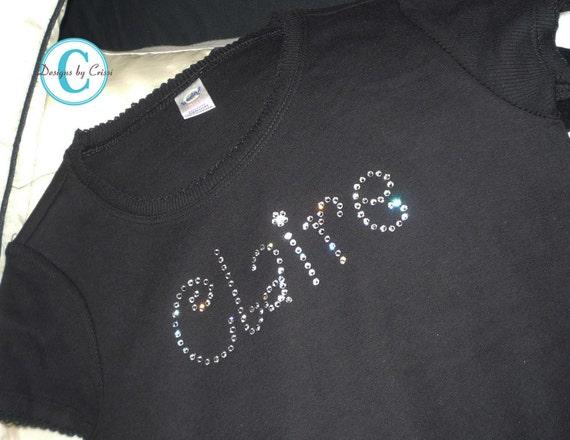 Custom Rhinestone Shirt Bling Name Tee Shirt By