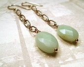 Amazonite oval earrings