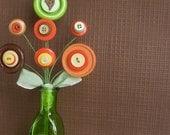 Custom Button Bouquet Custom Colors Button Flower Arrangement Vase included