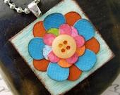"Colorful Flower Pendant Wooden Square pendant 1 inch paper flower  ""button flower"""