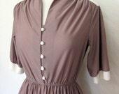 Pinstripe 1970's Vintage Half Sleeve Shirtwaist Dress - Cocoa and Cream