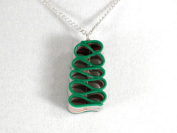 Ribbon Candy Necklace / Pendant - Christmas Necklace - Red, Green and White - small size
