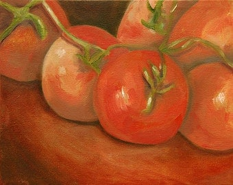 Vine Ripened Tomatoes, An Original Oil Painting