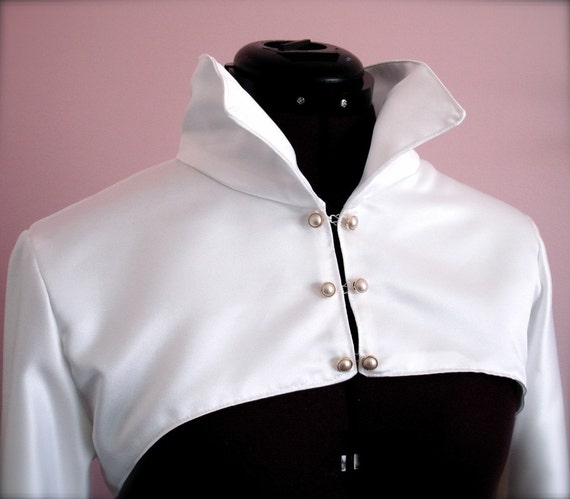 Stand-up Collar Satin Bridal Jacket - White or Ivory