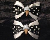 Black and White Polka Dot Ice Cream Cones Hair Bows Clips Rockabilly