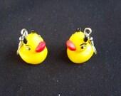 Yellow Devil Duck Earrings