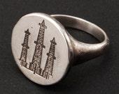 Oil Derricks Ring -silver