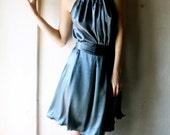 Dress in Teal blue Silk Satin