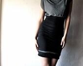 draped mini dress Fitted black jersey womens tunic