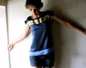Navy blue Striped Silk satin Tshirt
