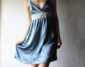 Silk satin party dress - teal blue