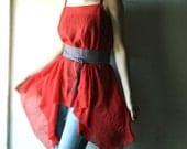 Tshirt top in bright red chiffon - womens asymmetrical draped tunic top