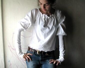Winter clothing, Women Blouse, Long sleeve shirt, White Sweatshirt, Cotton blouse, Jersey top, Long sleeve top, Medieval blouse, maternity