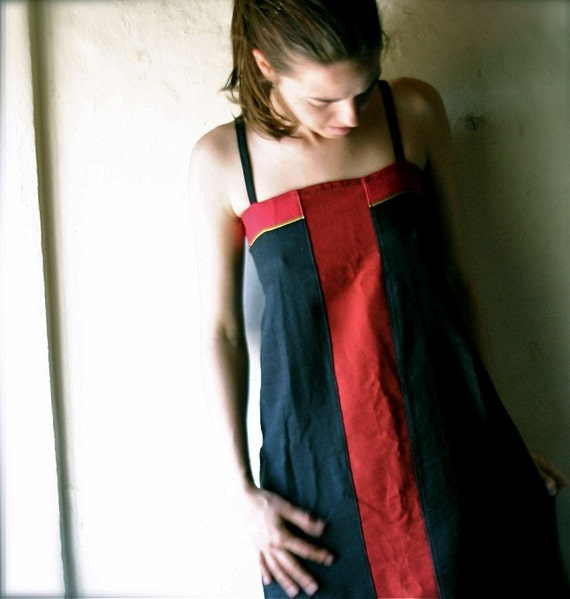 Aline Tunic dress in black and red cotton