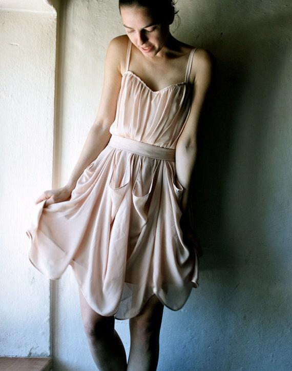 Apricot chiffon party Dress