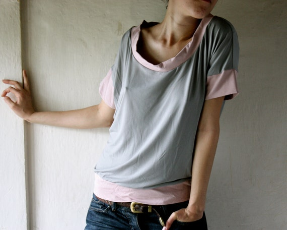 Oversize Womens Tshirt in Pink and grey jersey