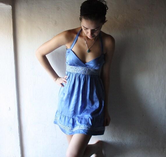 Blue dress, Silk dress, Satin dress, Halter dress, Mini dress, Sexy dress, Silk Nightgown, Backless dress, Camisole, Womens clothing, Petite