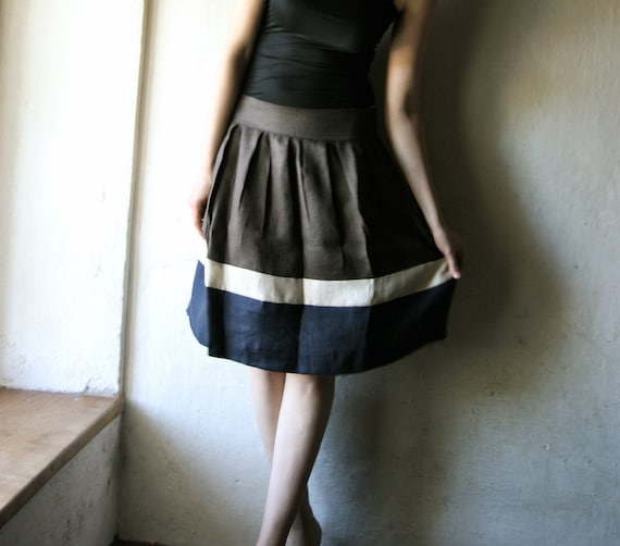 Linen Skirt, Knee length Pleated striped womens skirt