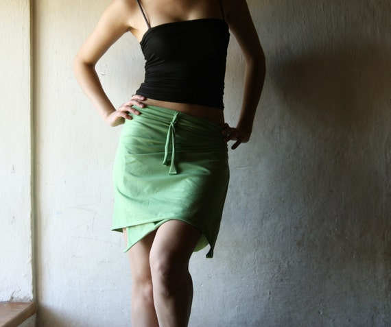 apple green Wrap Skirt - top - shaw - scarf in  cotton Jersey