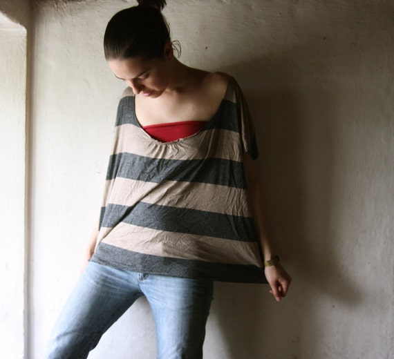 Striped Oversized Tshirt top in grey and ecru