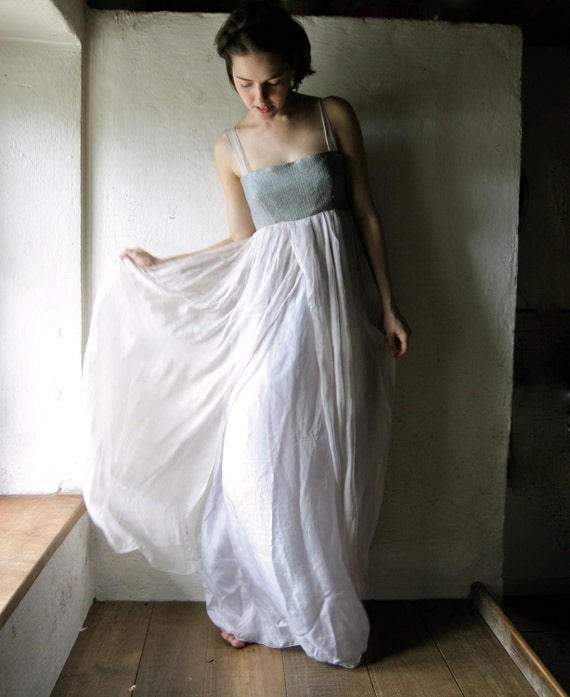 Long Wedding dress in lavender grey silk chiffon - maxi dress empire cut bridal gown