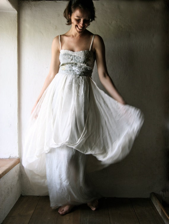 Long Wedding dress in aqua grey and ivory silk chiffon - maxi dress empire cut bridal gown