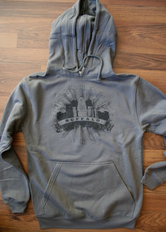 SALE  20.00 reg 40.00 - Buffalo City Hall Unisex Organic Pullover Hoodie Only Smalls Left Hand Silkscreen Printed
