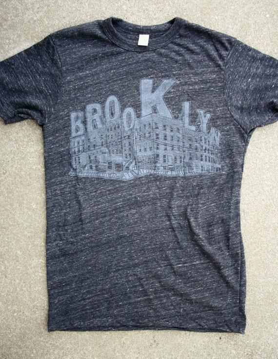SALE - Last Remaining - Brooklyn Unisex T Shirt - Eco Heather - Hand Printed Silkscreen - ONLY XL