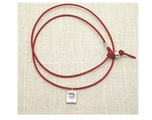 LOTUS..Red Leather Necklace..